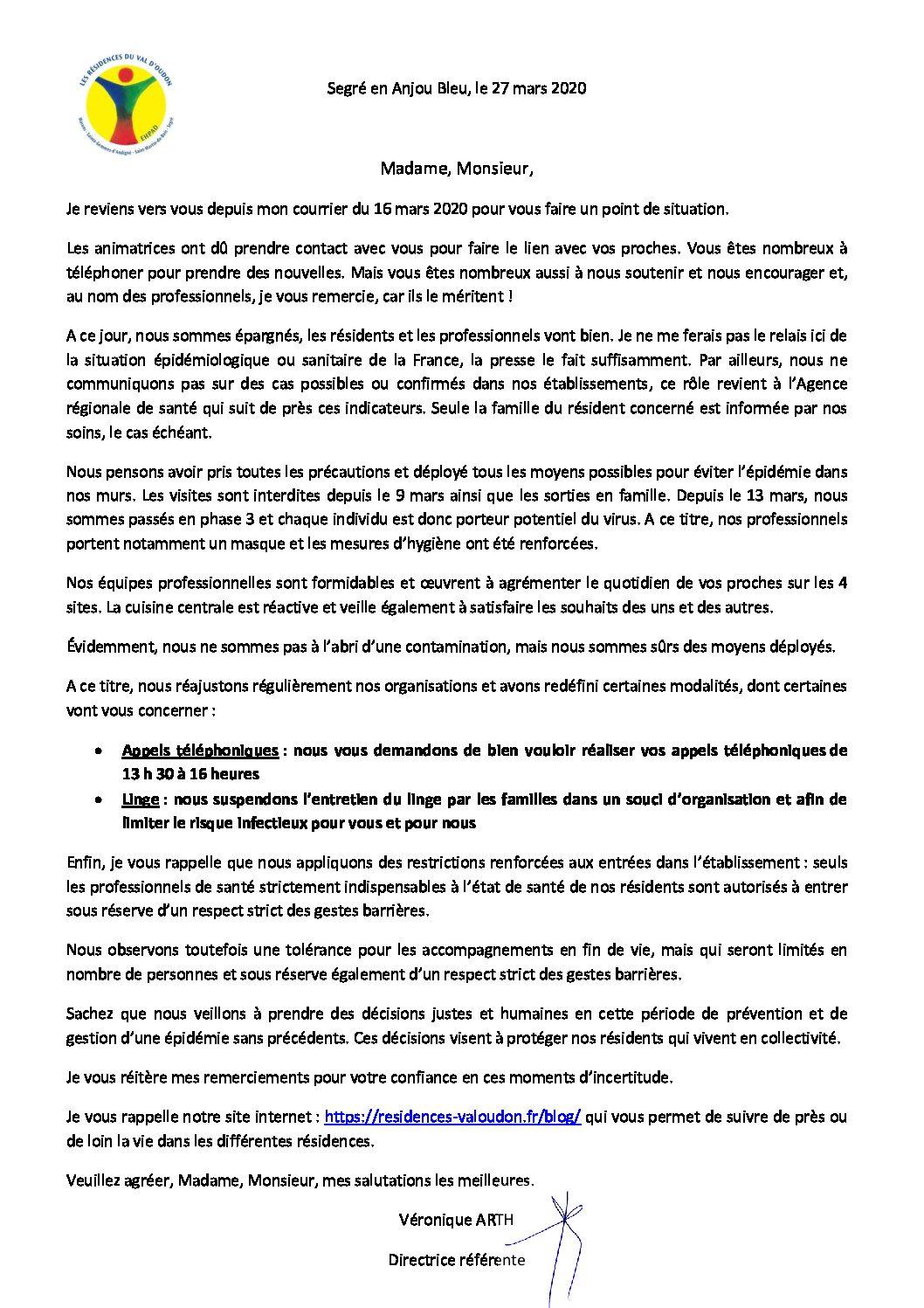 COURRIER D'INFORMATIONS AUX FAMILLES N°2            SITUATION AU 27 03 2020