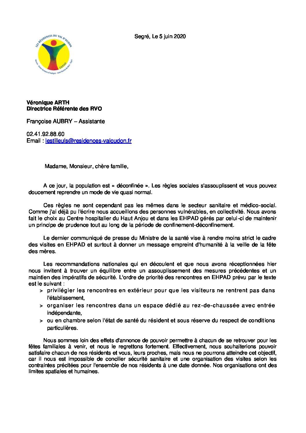 Courrier d'information n° 5 – Informations de la Direction aux familles 05 06 2020