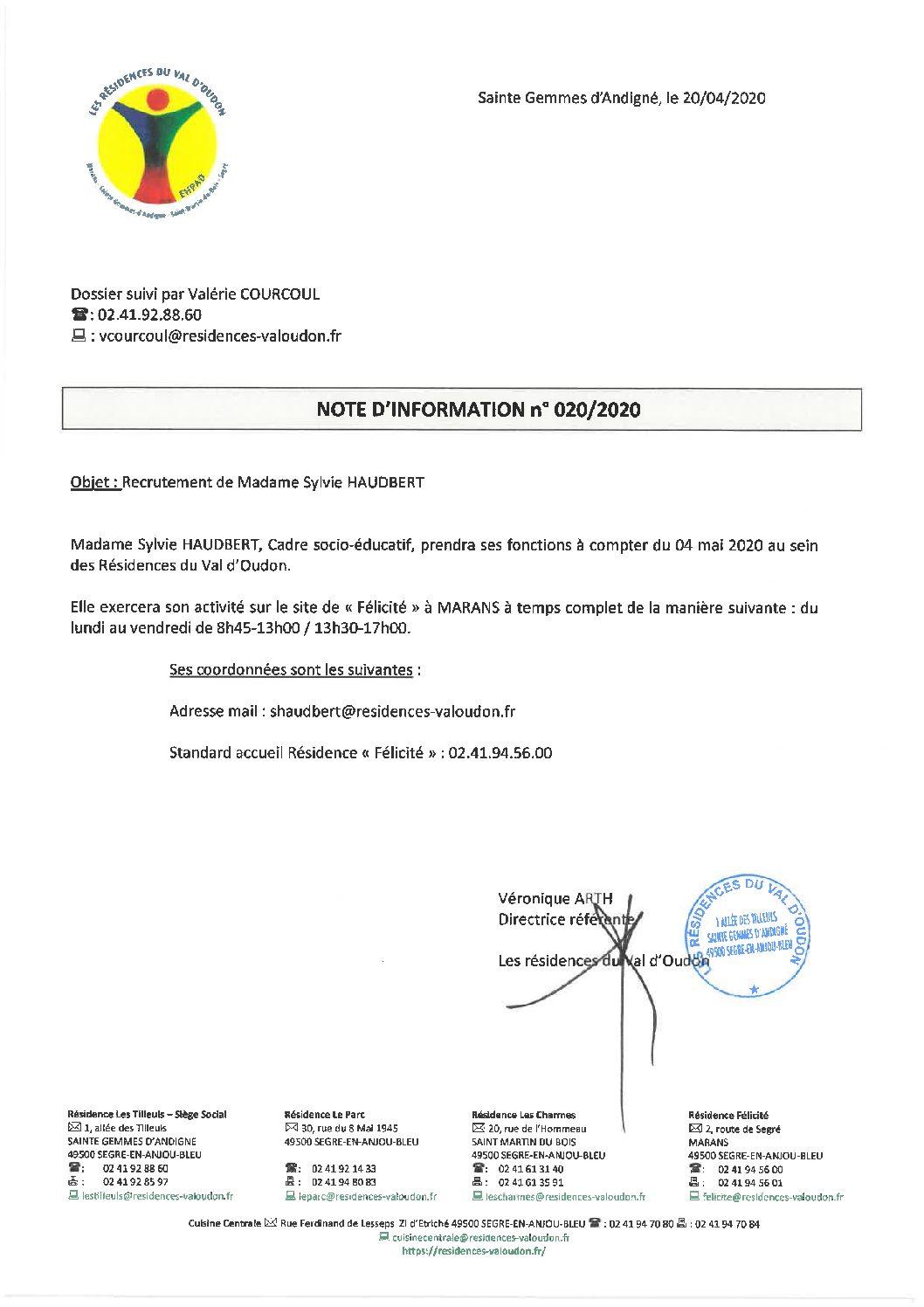 Arrivée de Madame Sylvie HAUDBERT, Cadre de Santé Résidence «Félicité» à MARANS
